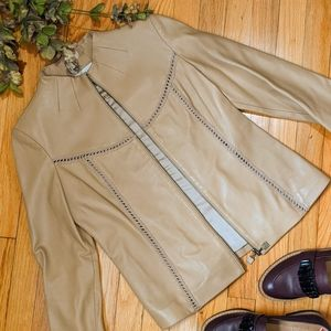 {St. John Collection} Tan Leather Jacket